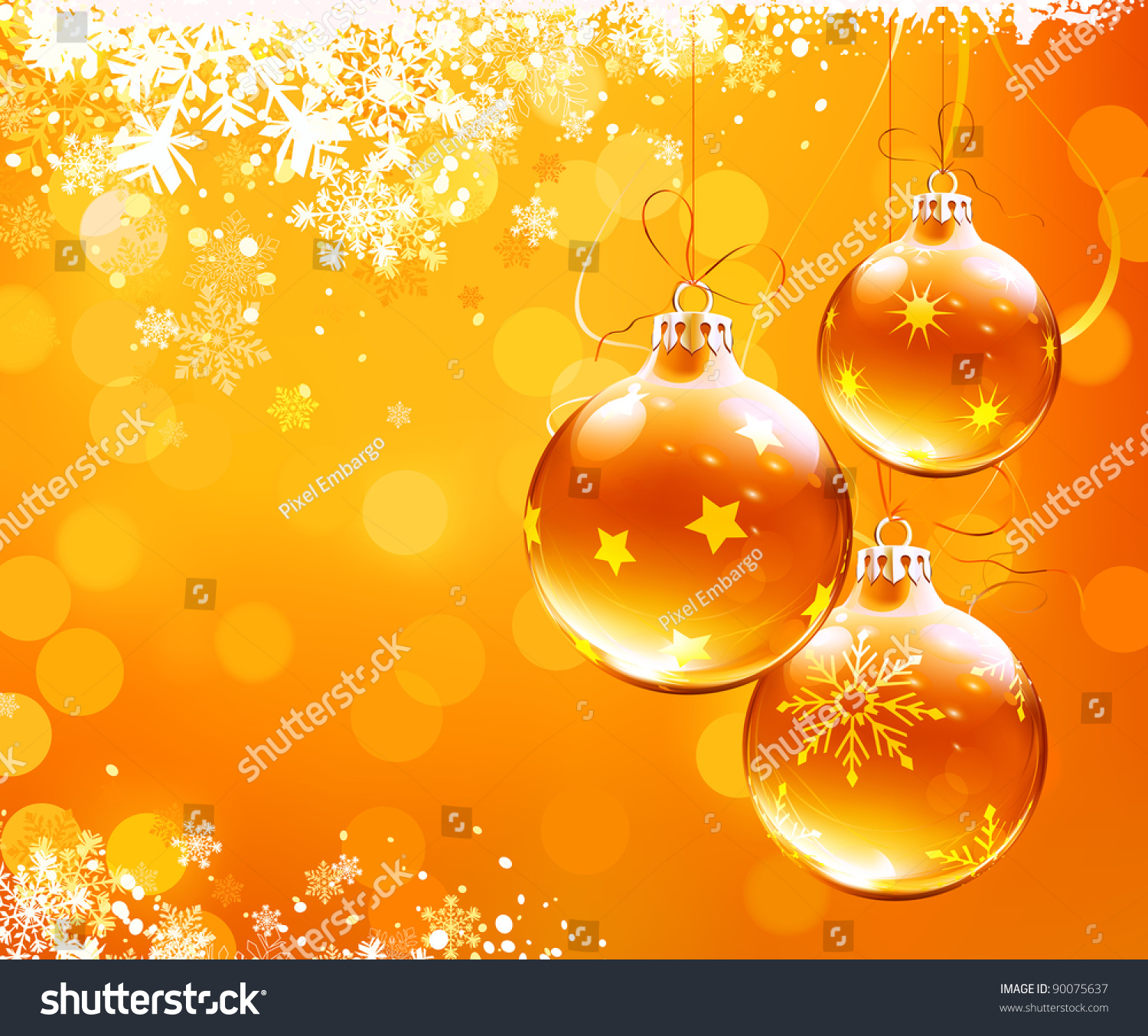 Christmas Decorations With Orange: Vector Illustration Orange Christmas Abstract Background