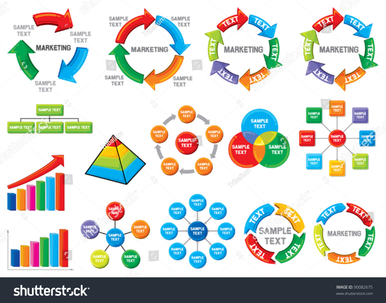 Graphic Business Process Diagram Collection (Bar Graph, Circle Chart) Stock Vector Illustration