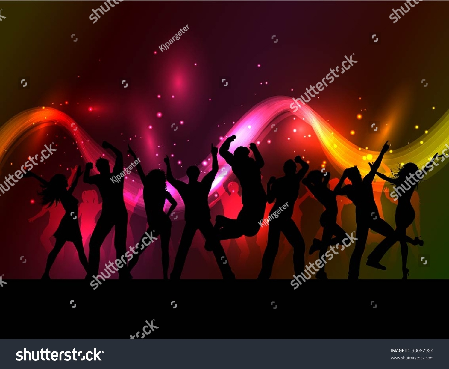 Silhouette Dance Music Abstract Background: Silhouettes Of People Dancing On An Abstract Background