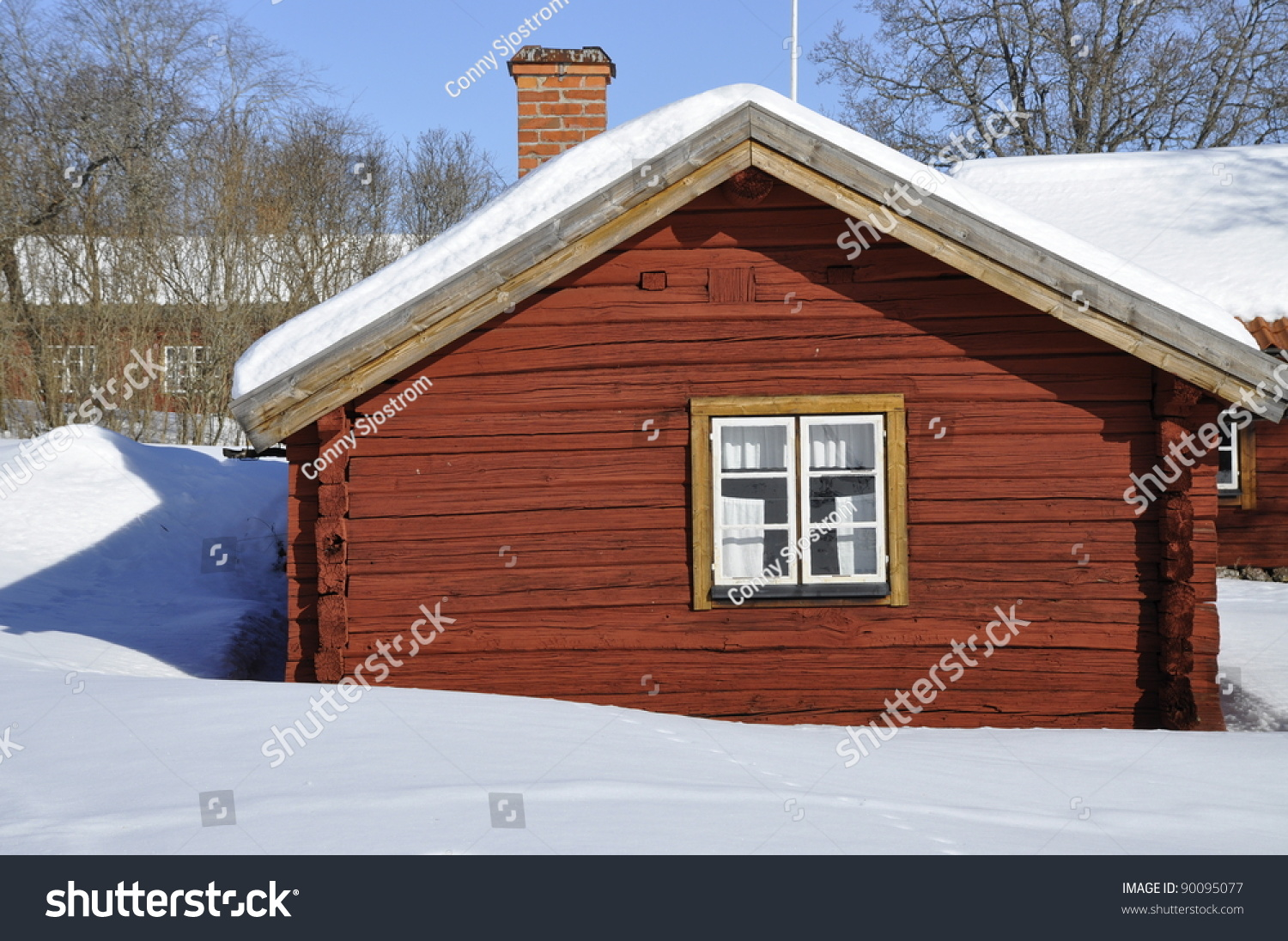 Red cottage in a wintry landscape stock photo 90095077 for Red cottage