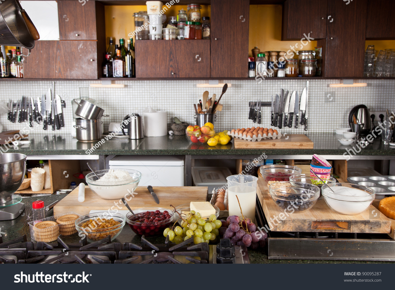 Kitchen setup to go baking cupcakes stock photo 90095287 for Kitchen setup