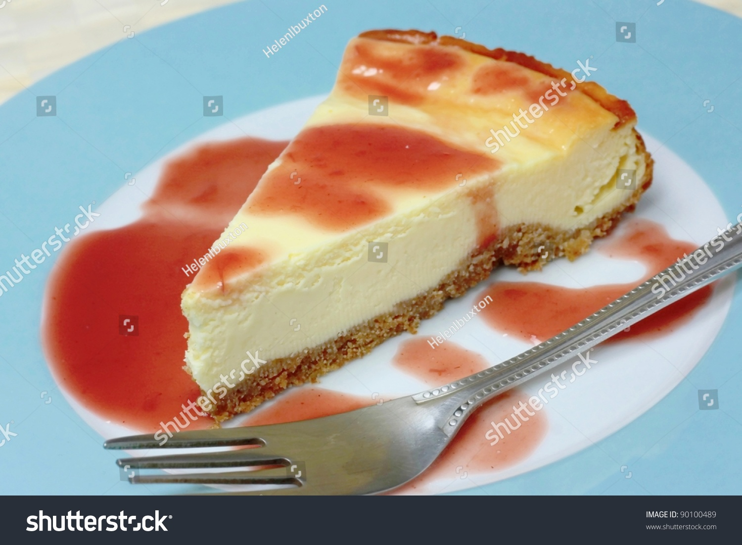 Piece new york cheesecake fruit coulis stock photo for Fruit coulis