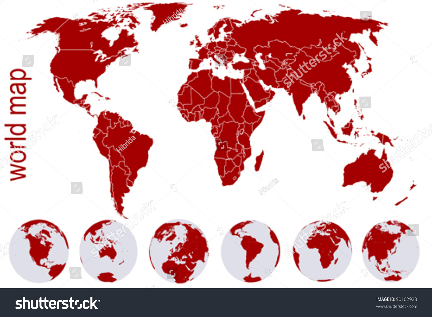 Red world map earth globes vectores en stock 90102928 shutterstock red world map with earth globes gumiabroncs Images
