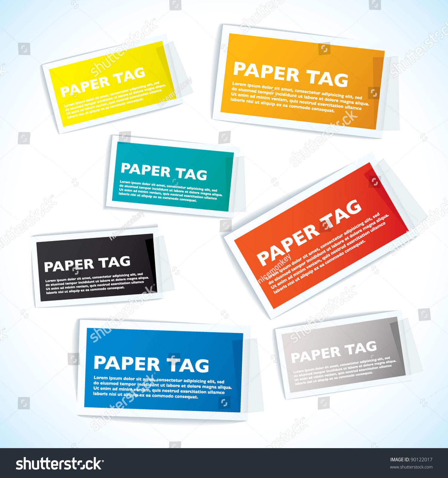 Paper tags white borders sticky tape stock vector 90122017 paper tags with white borders and sticky tape sciox Choice Image