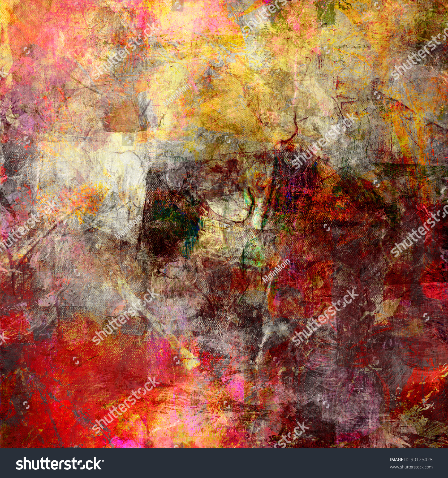layered abstract painting emoticon symbols gallery