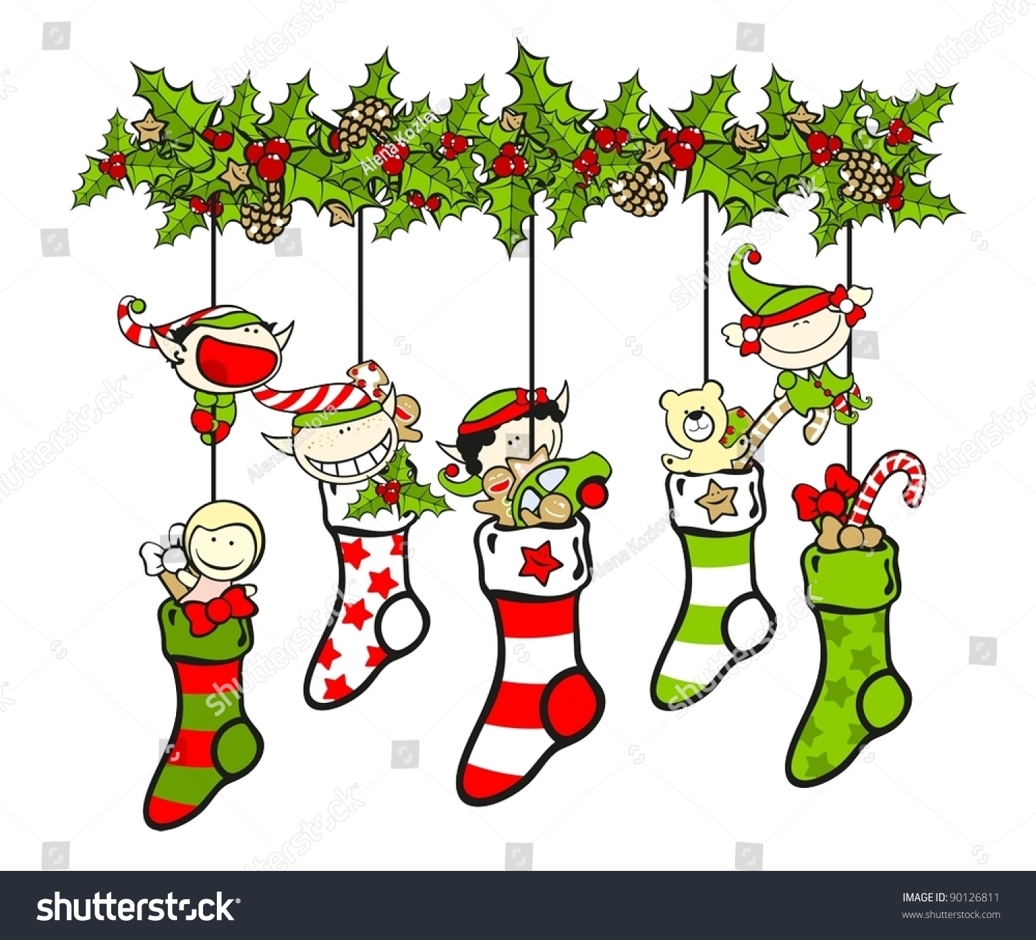 Christmas Stockings Clipart Free Stock Vector Christmas Stockings Filled With Presents And