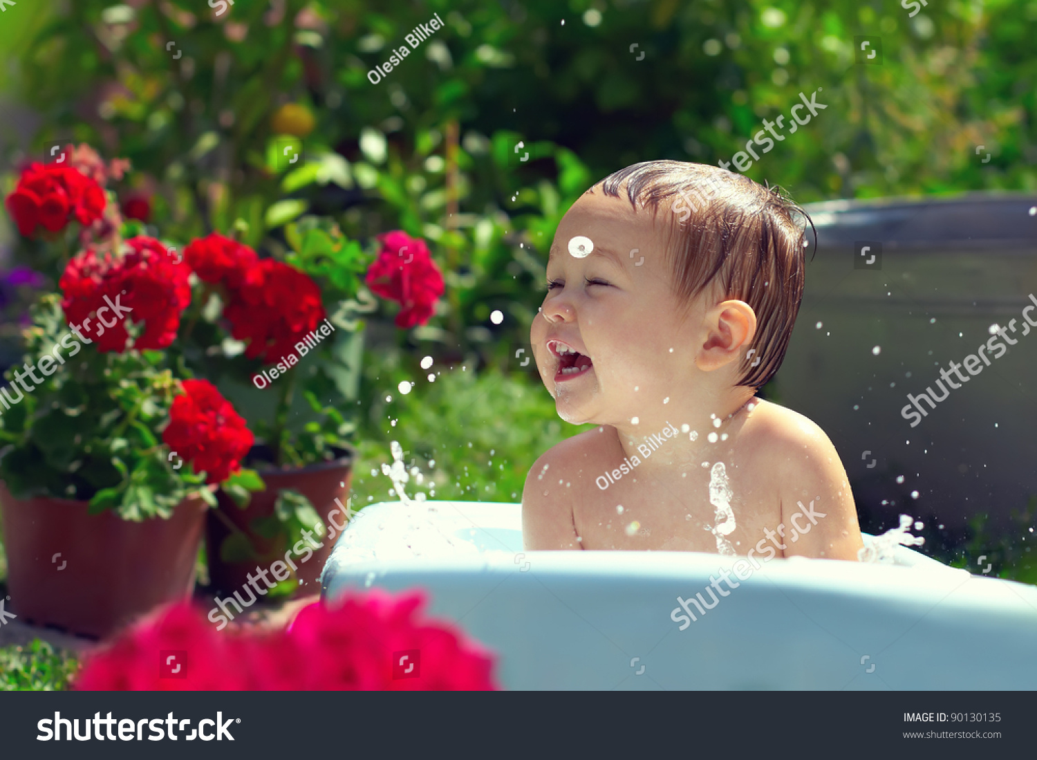 cute funny small baby boy bathing stock photo (royalty free
