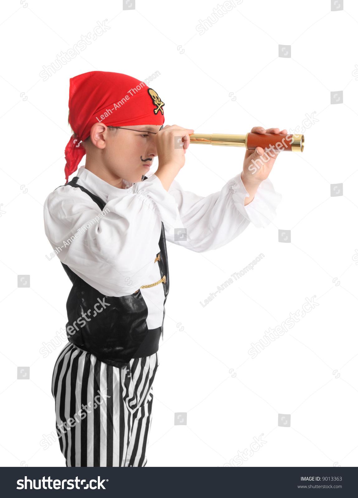 pirate looking through folding pocket spotting stock photo