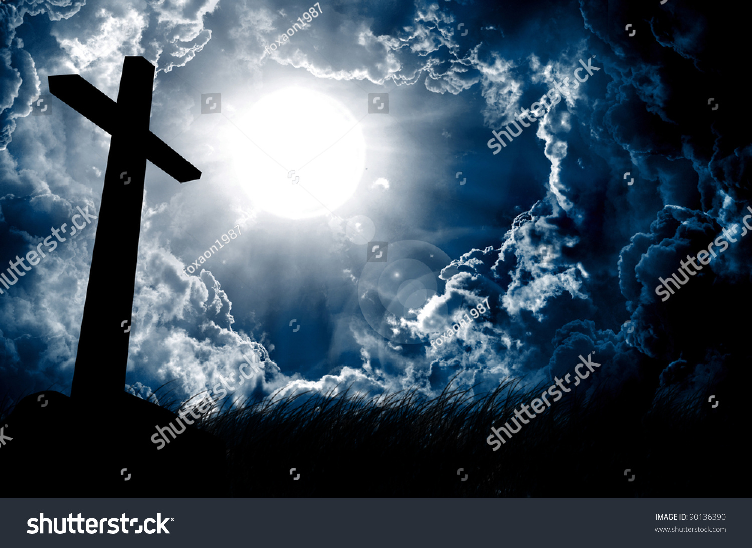 Silhouette of the holy cross on background of storm clouds stock - Cross Silhouette And The Sky With Full Moon