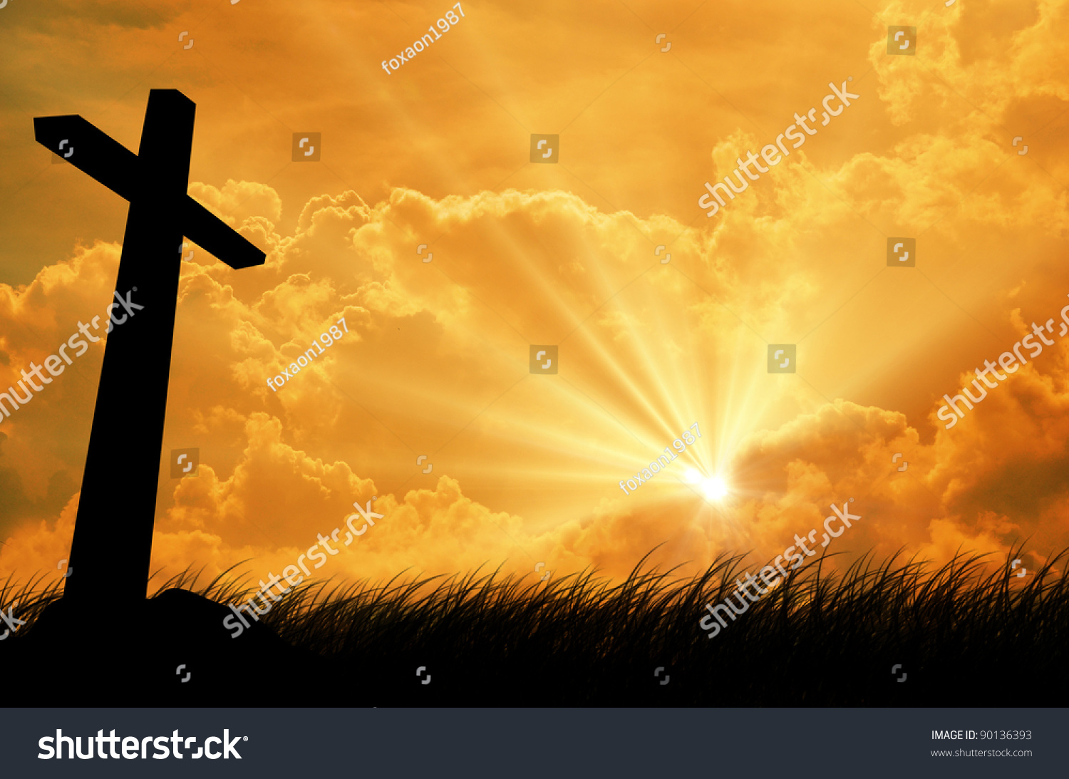 Silhouette of the holy cross on background of storm clouds stock - Cross Silhouette With The Sunset As Background