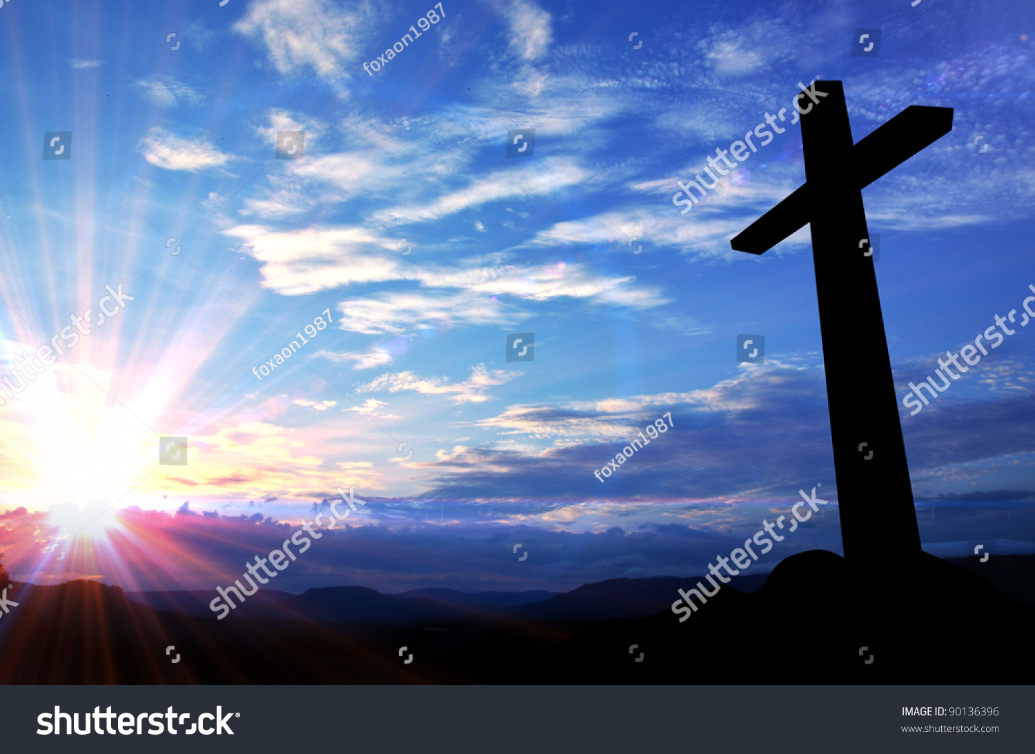 Silhouette of the holy cross on background of storm clouds stock - Cross Silhouette And The Holy Blue Sky