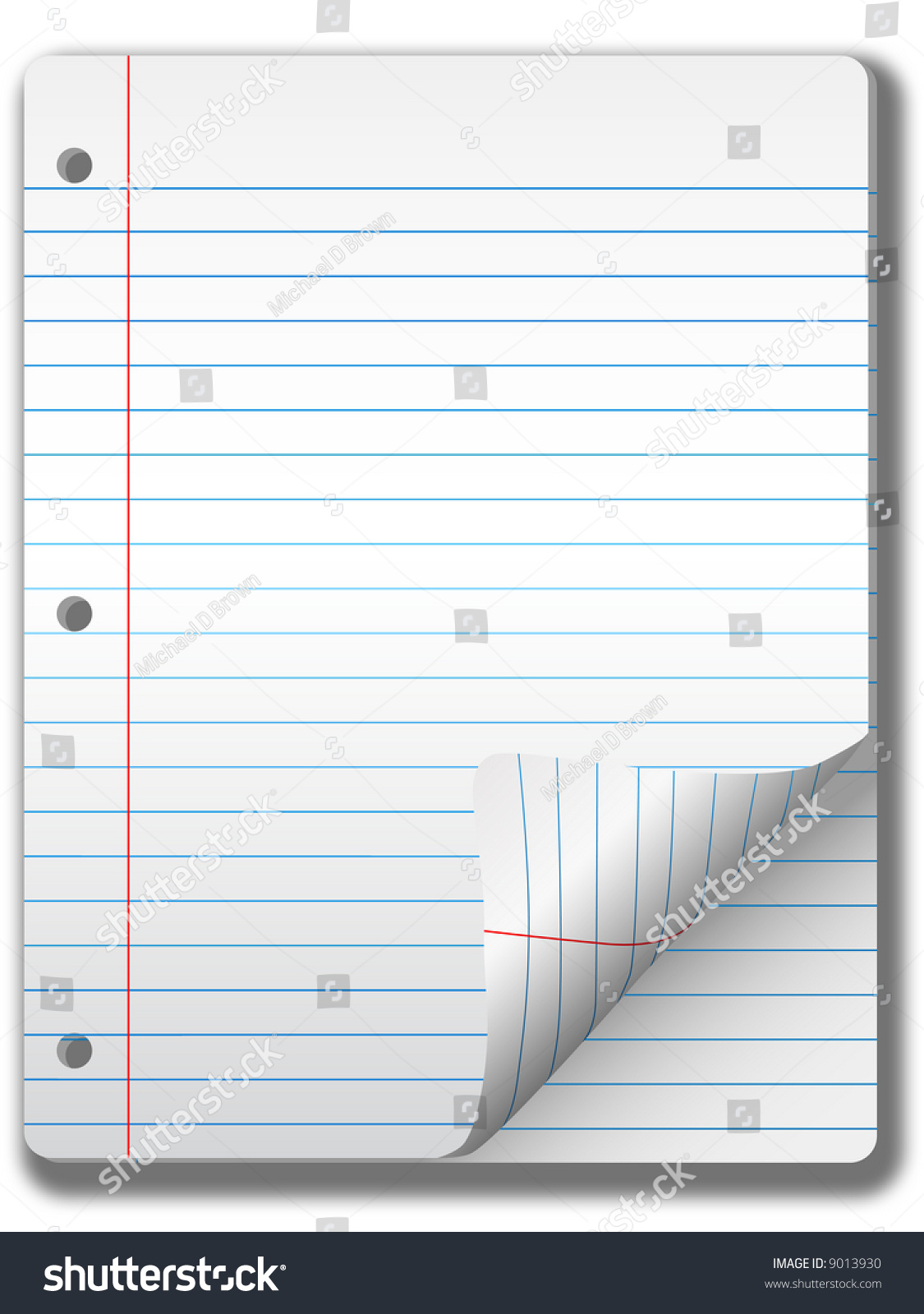 pages wide ruled notebook paper page stock illustration 9013930