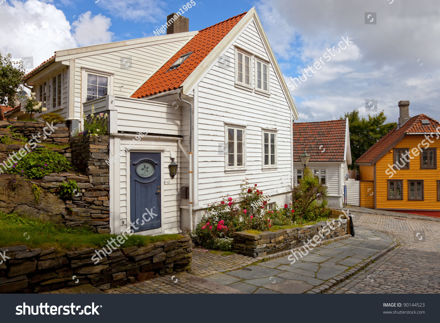 Traditional wooden houses in stavanger norway stock for Norway wooden houses