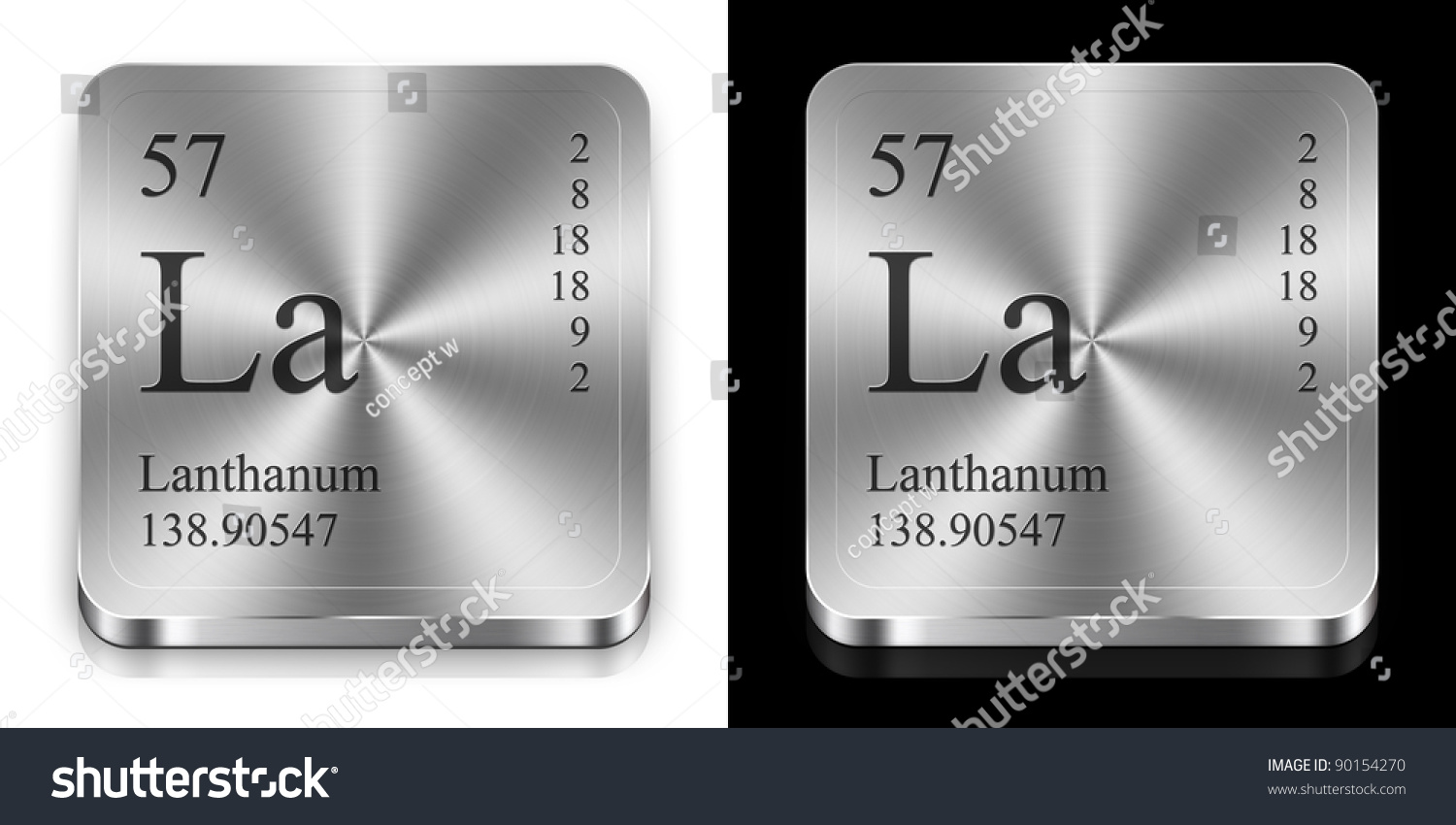 Lanthanum Element Periodic Table Two Steel Stock Illustration