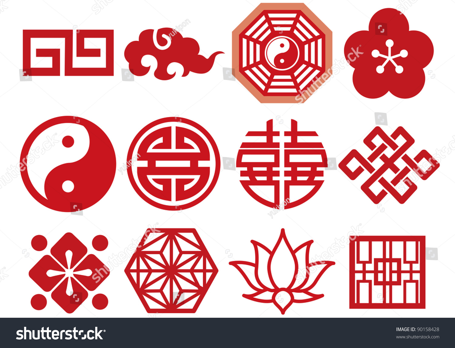 Chinese asian icons set stock vector 90158428 shutterstock for Chinese vector