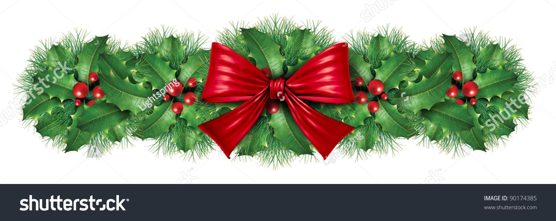 Green holiday ribbon border linepc