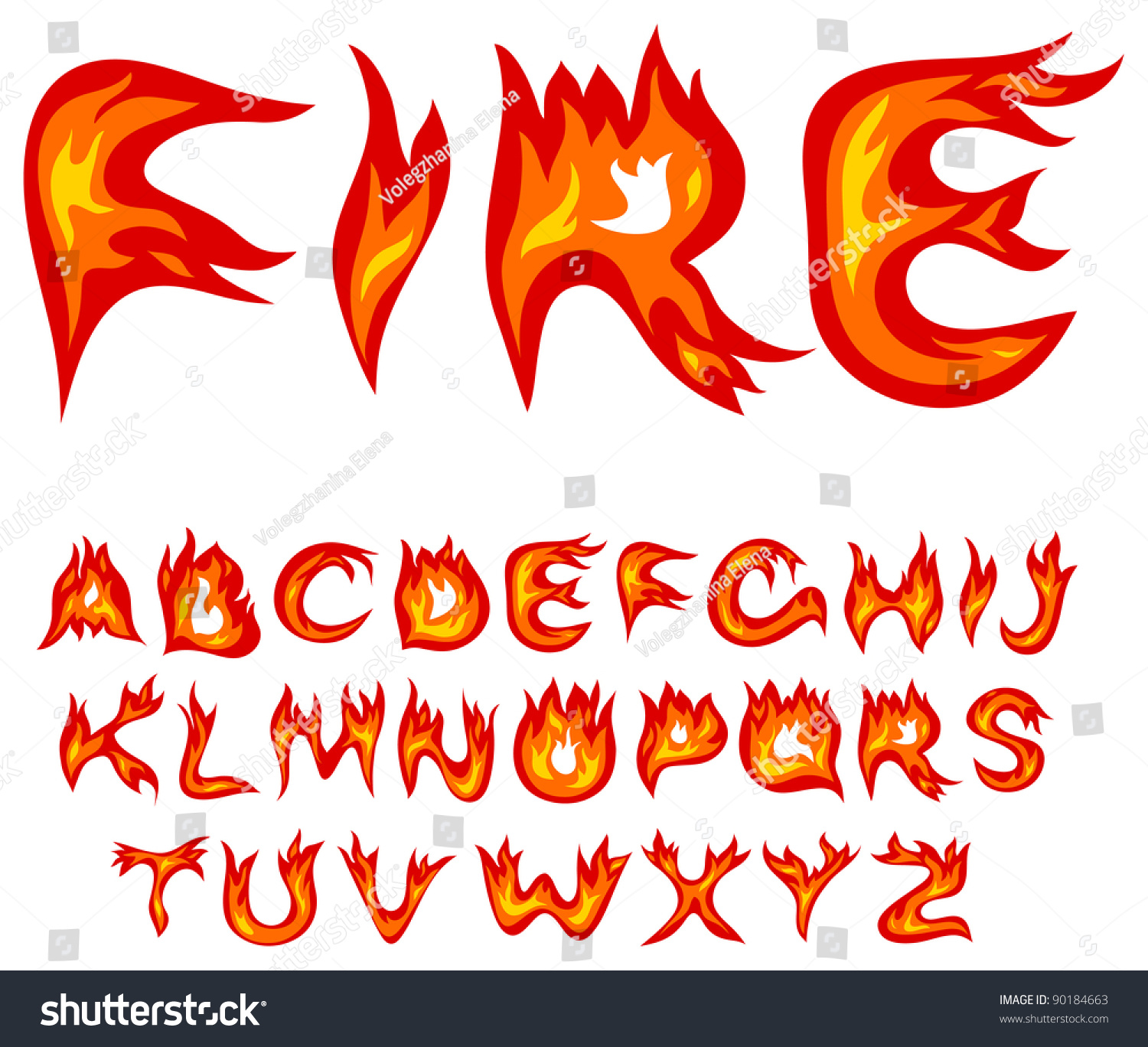 vector red flame alphabet on white stock vector 90184663. Black Bedroom Furniture Sets. Home Design Ideas