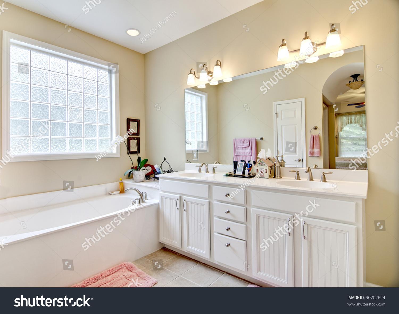 Elegant Simple Bathroom White Beige Photo 90202624 – White and Beige Bathroom