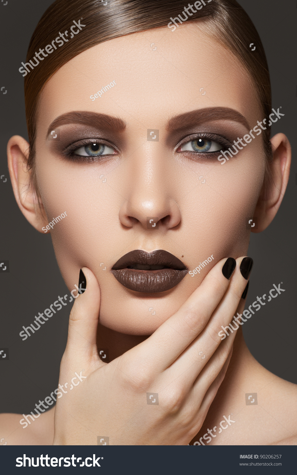 Fashion Style Manicure Cosmetics Makeup Dark Stock Photo 90206257 Shutterstock