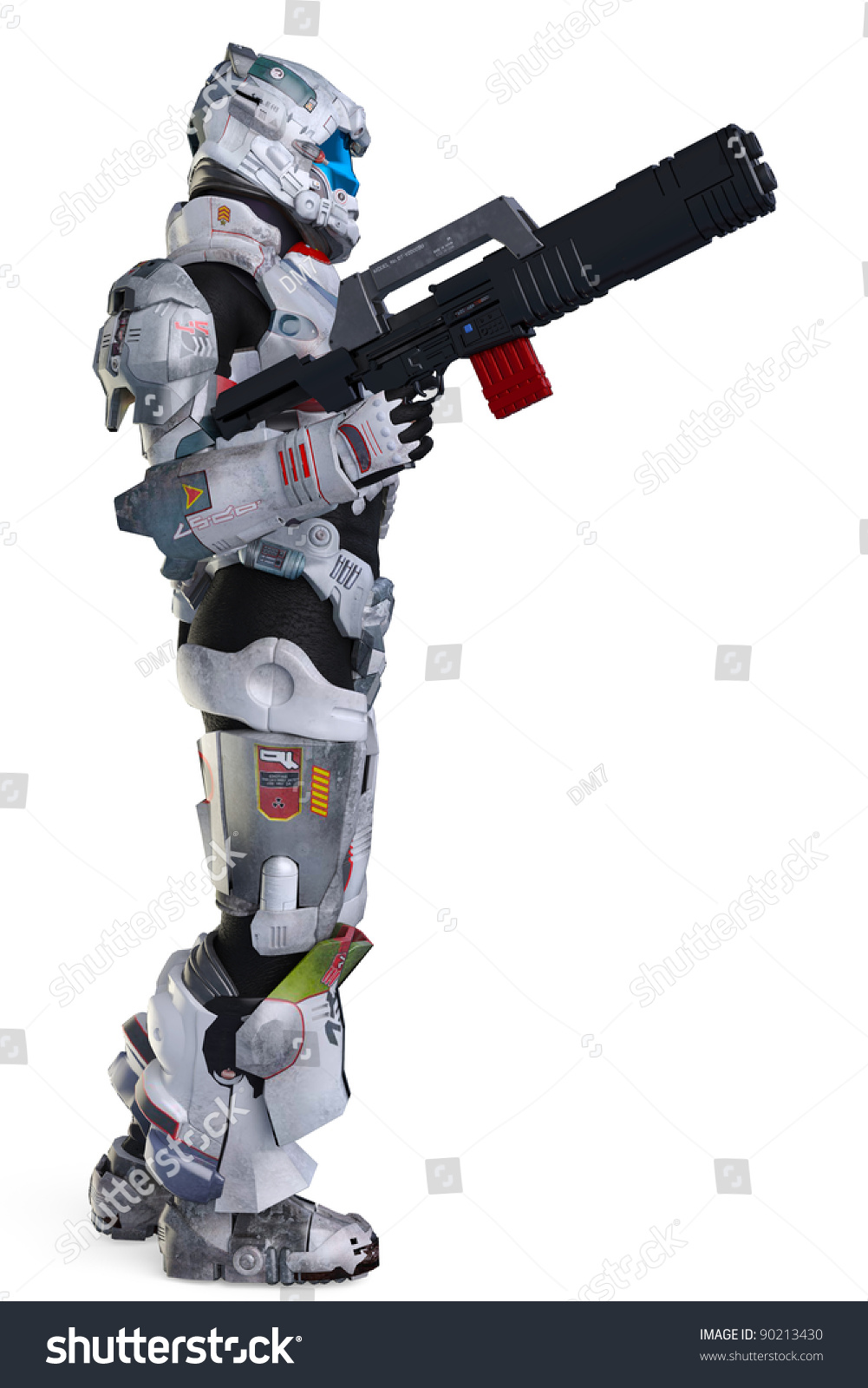Astronaut Hero Wit Gun Stand Side Stock Illustration ...