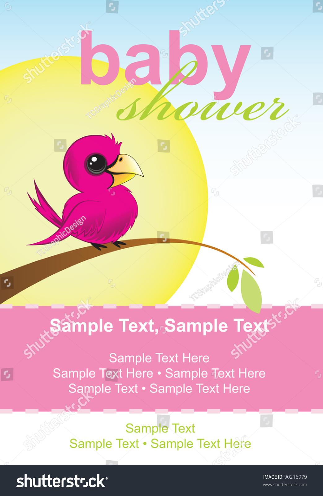 Baby Shower Invitation Little Bird Sitting Stock Vector Royalty