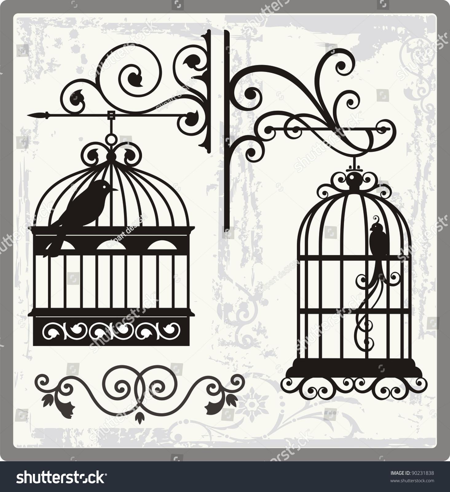 vintage bird cages ornamental decorations stock vector royalty free Diamond Dove Cage vintage bird cages with ornamental decorations