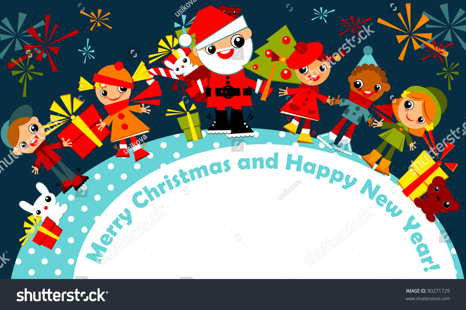 Christmas Kids Background Children Winter Clothes Stock Vector ...