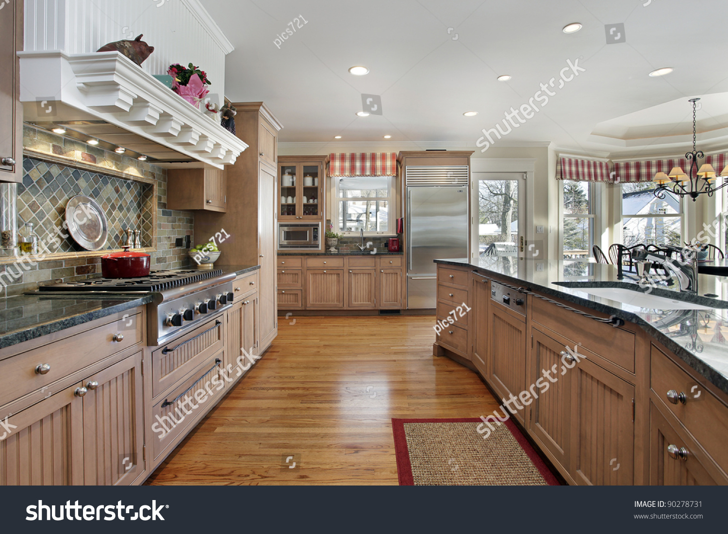 Large Kitchen Large Kitchen Modern Home Eating Area Stock Photo 90278731
