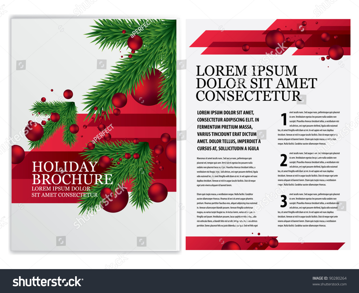 Vector business brochure christmas flyer template stock for Christmas brochure template