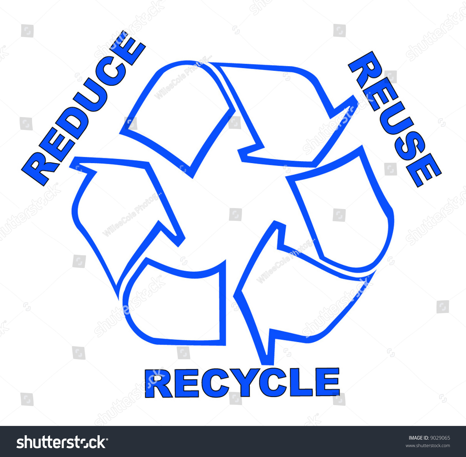Recycle Symbol Words Reduce Reuse Recycle Stock Vector Royalty Free