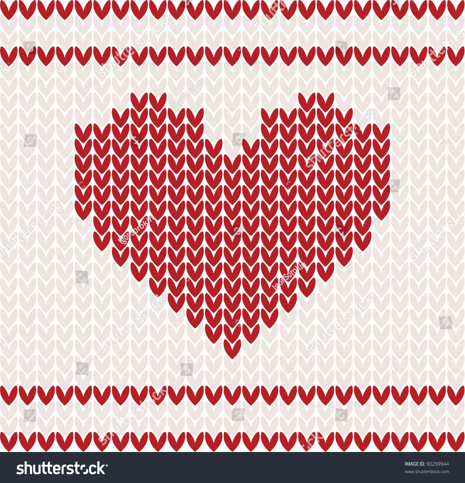 Knitted vector pattern red heart christmas stock