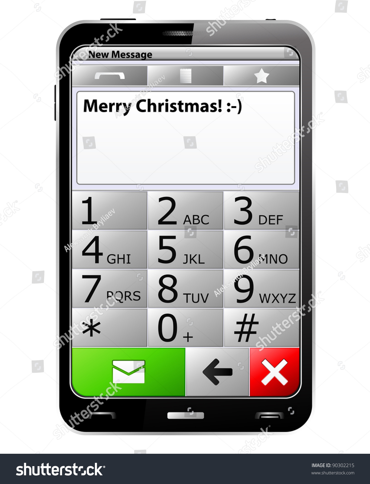Smartphone Merry Christmas Sms On Screen Stock Illustration 90302215 ...
