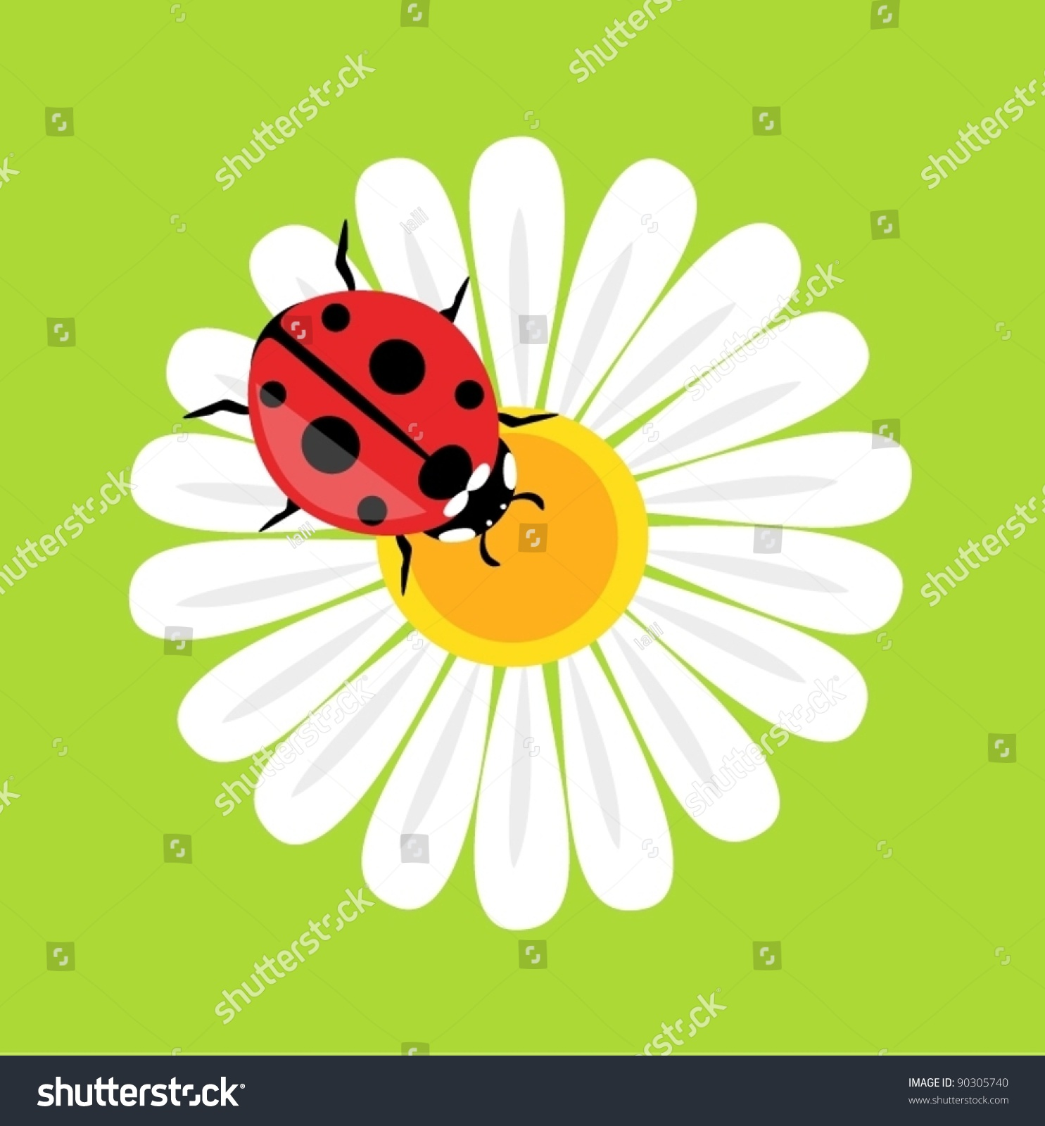 Stock Vector Ladybird On