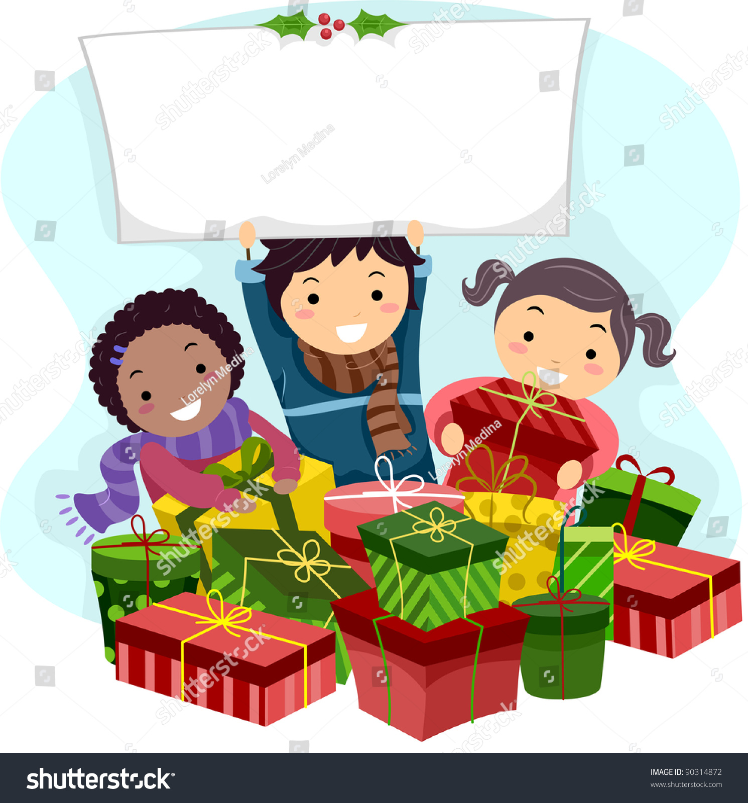 Illustration Of Kids Opening Christmas Gifts - 90314872 ...