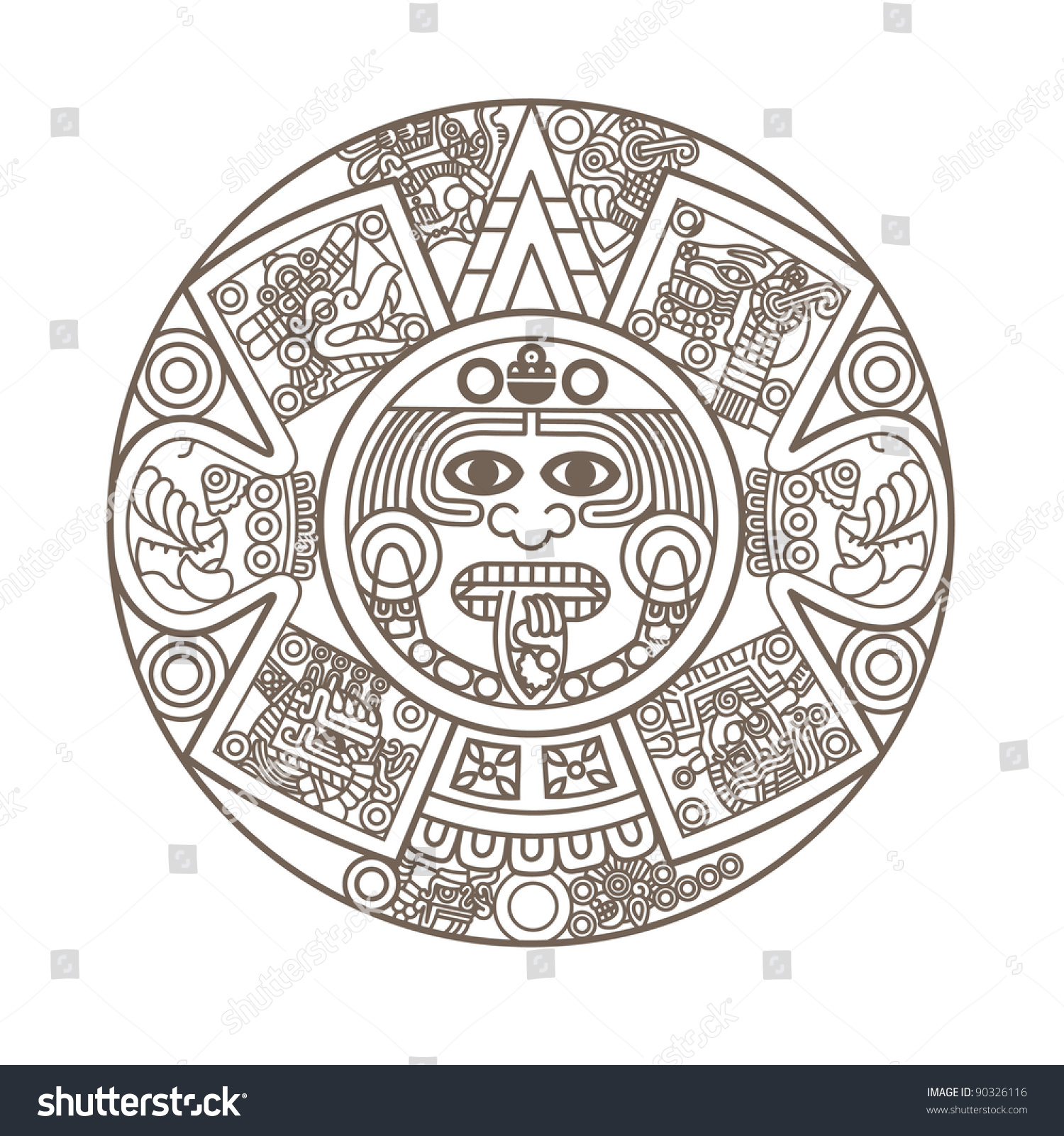 Calendar Illustration Vector : Stylized aztec calendar gold color vector stock