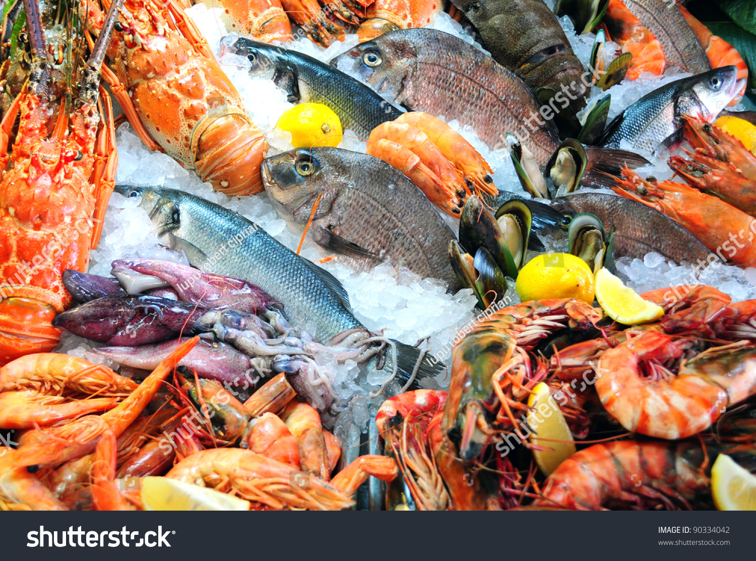 Fresh seafood photographed fish market stock photo for Seafood fish market