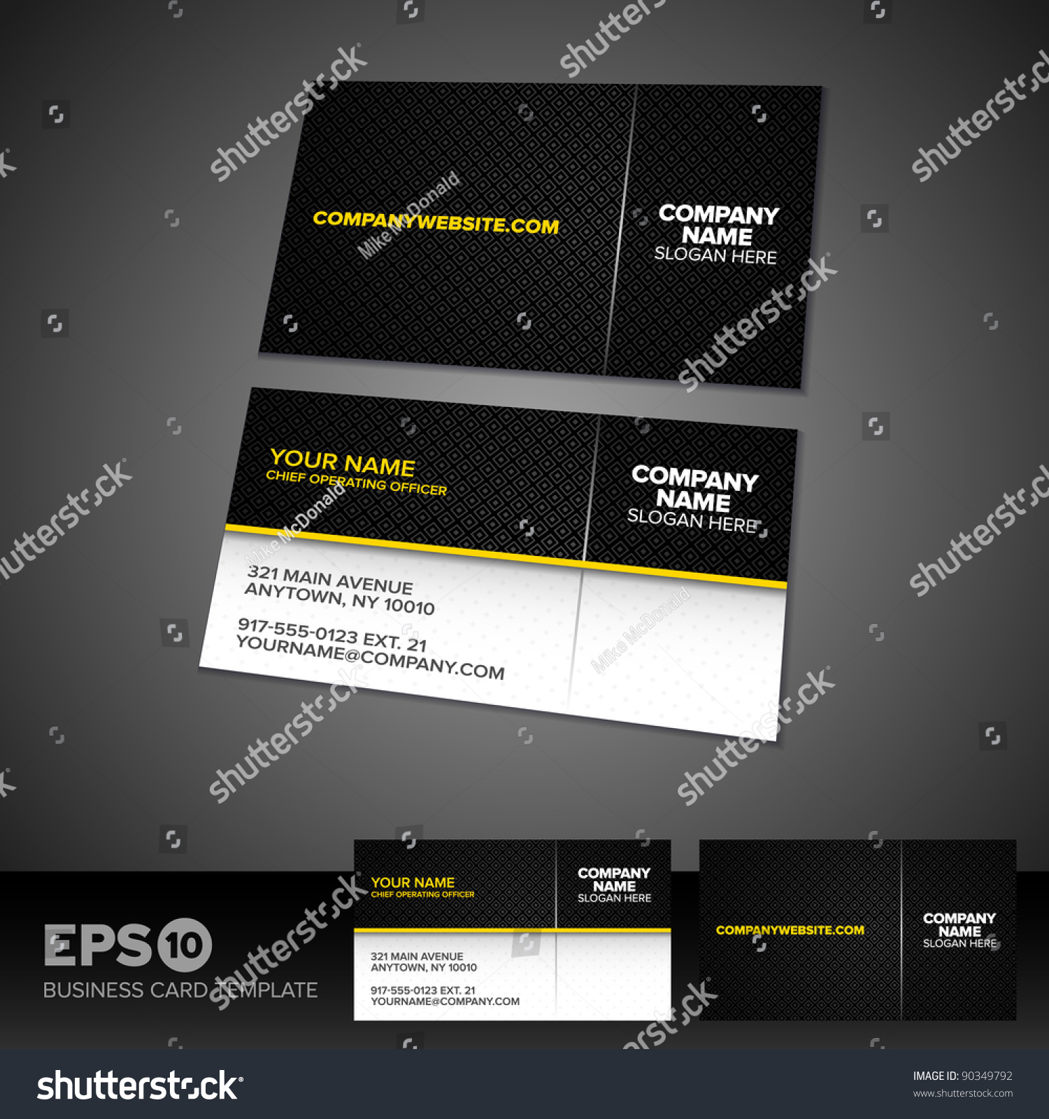 black yellow business card template patterned stock vector