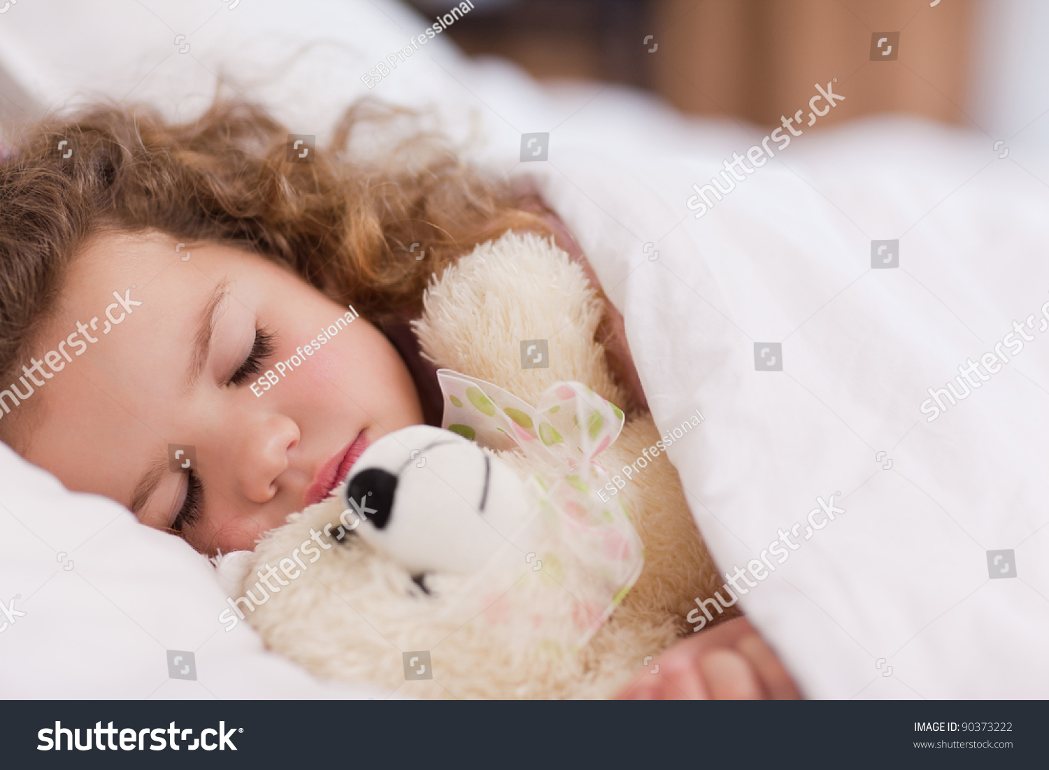 Sweet Little Girl Sleeping In Her Little Bed Stock Photo, Picture ...