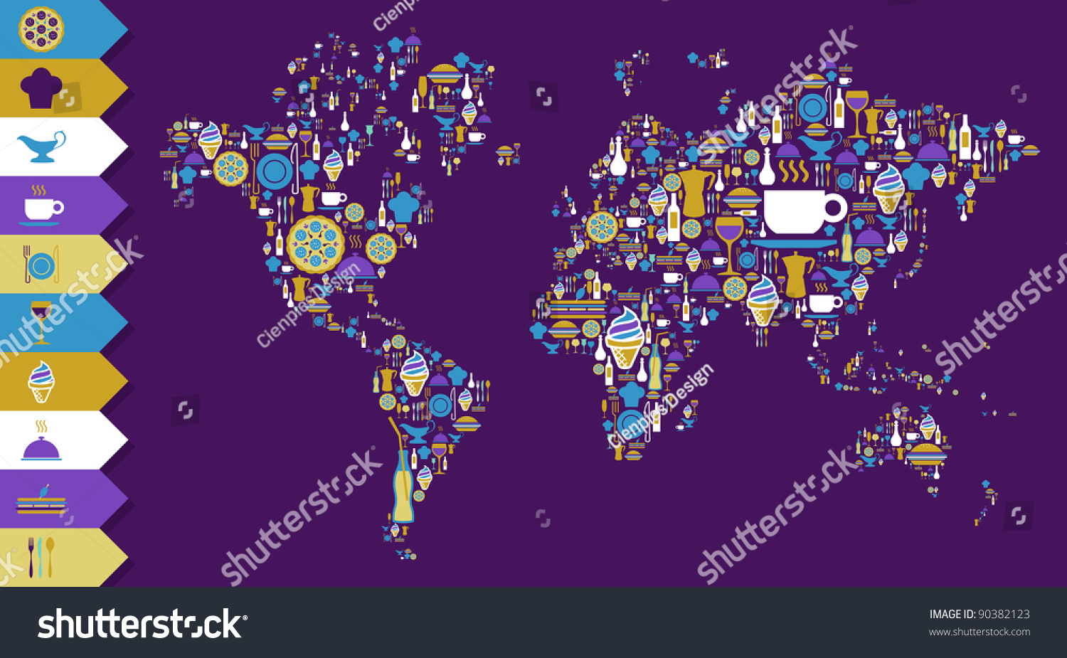 Globe world map shape made gourmet vectores en stock 90382123 globe world map shape made with gourmet icons over violet background vector file available gumiabroncs Images