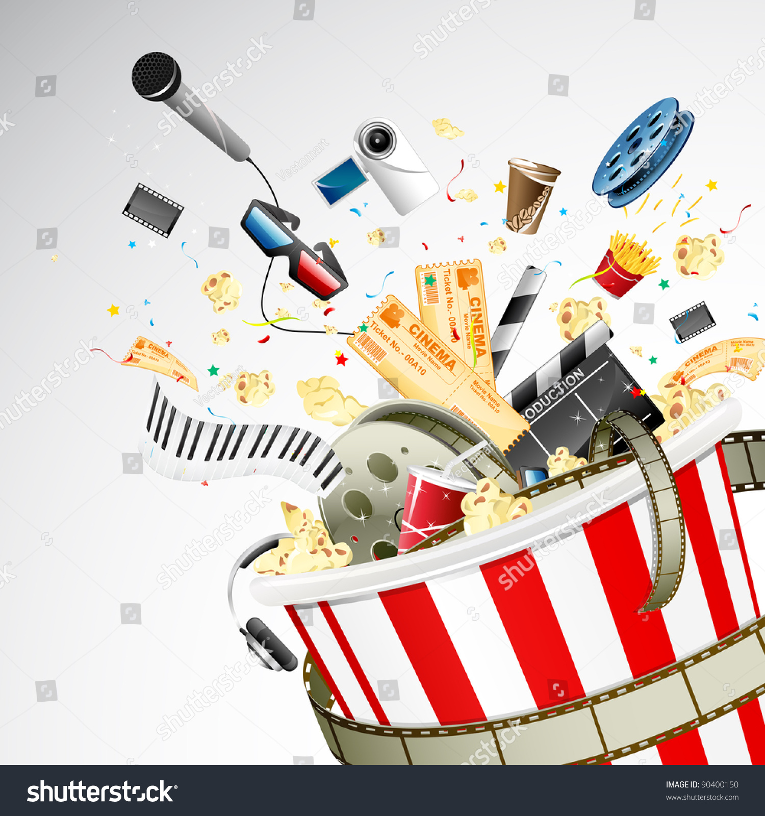 Illustration Entertainment Object Popping Out Popcorn ...