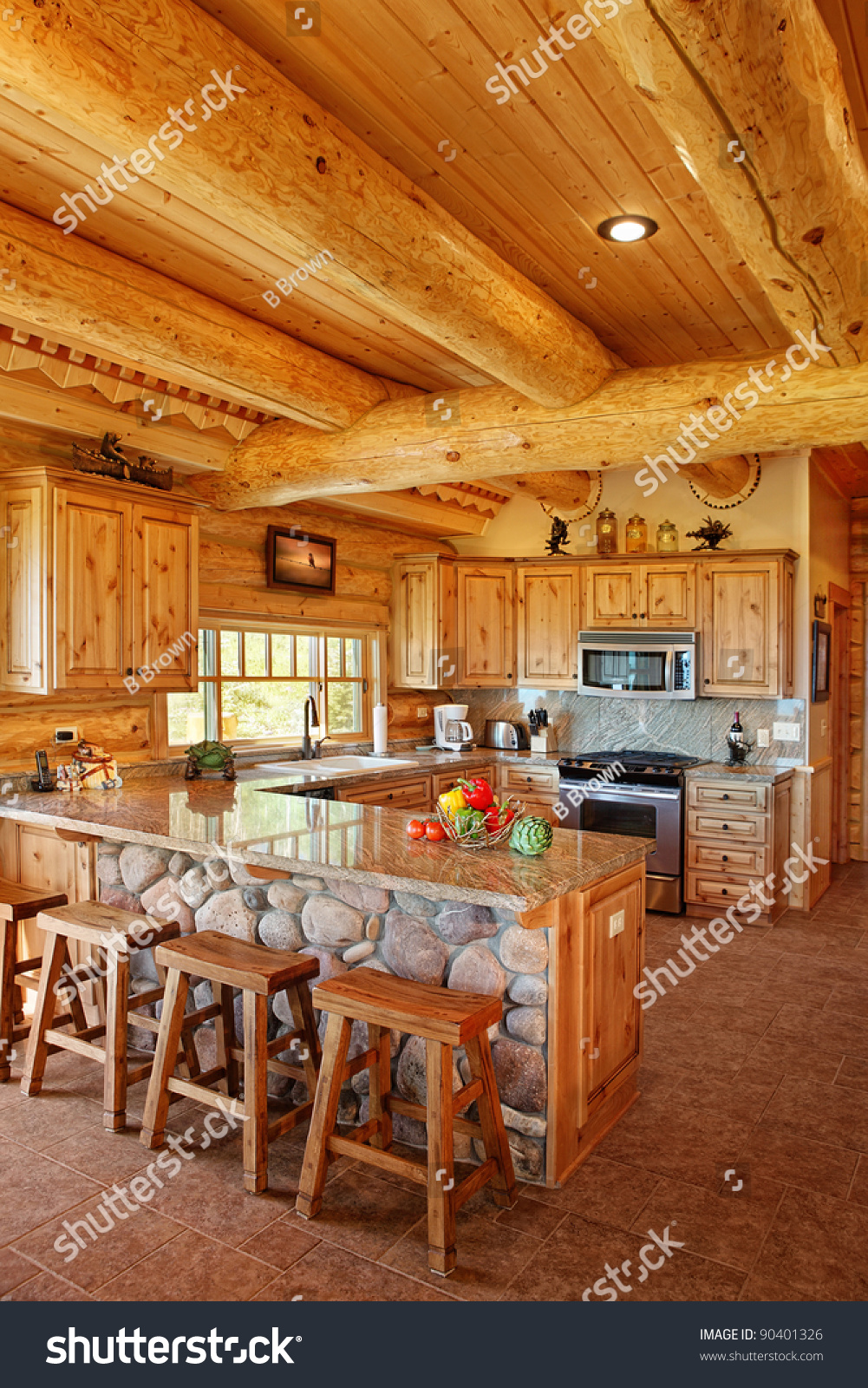 Bdg Style Idaho Project Kitchen: The Interior Of A Modern Log Cabin Stock Photo 90401326 : Shutterstock