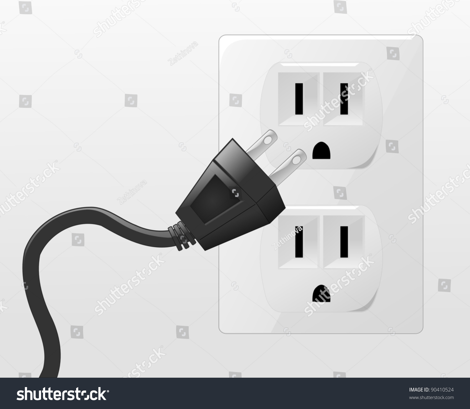 plug illustration plug going into socket stock vector