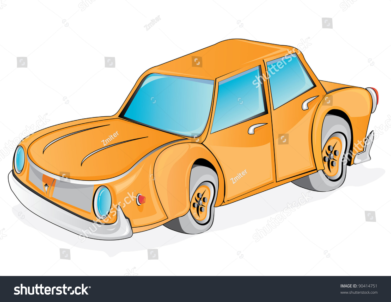 vector retro funny orange cartoon car stock vector 90414751 shutterstock. Black Bedroom Furniture Sets. Home Design Ideas