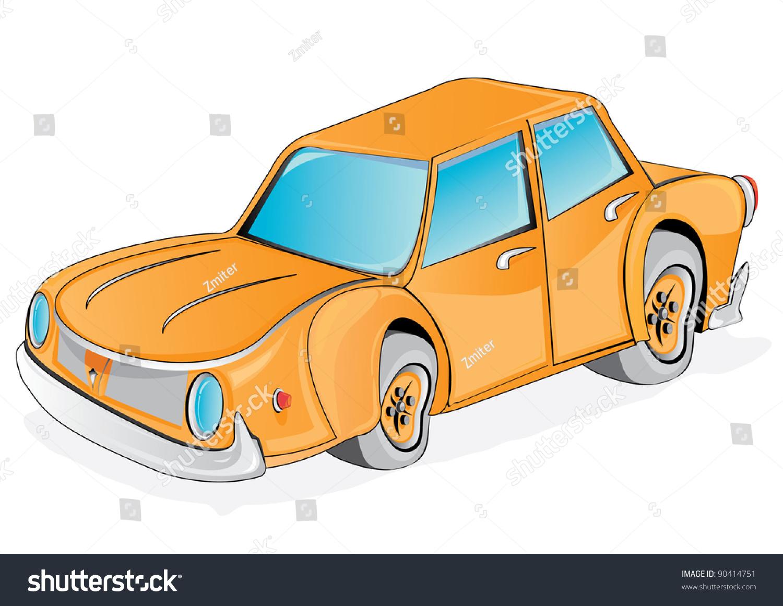 vector retro funny orange cartoon car stock vector 90414751 shutterstock. Black Bedroom Furniture Sets. Home Design Ideas