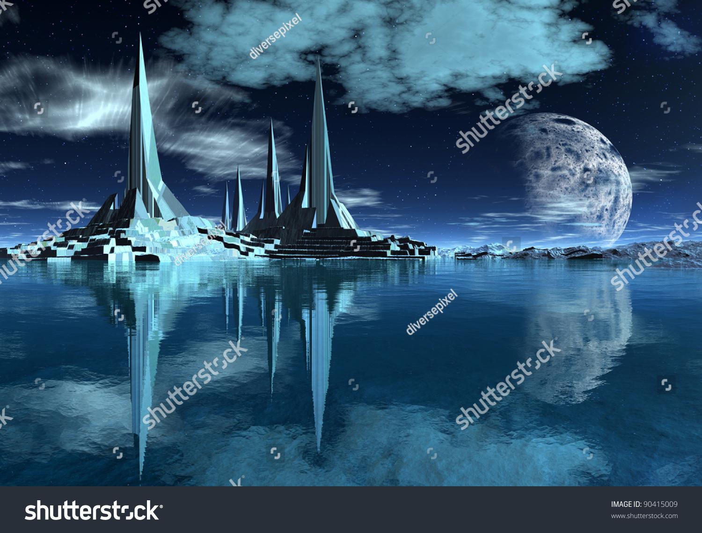 Rocket City On Alien Planet Military Stock Illustration ...