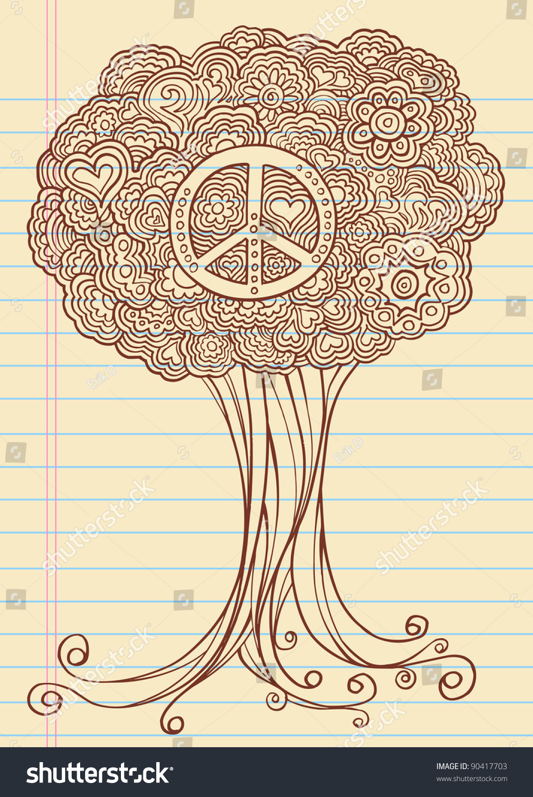 Notebook Doodle Sketch Henna Tree Drawing Stock Vector Royalty Free