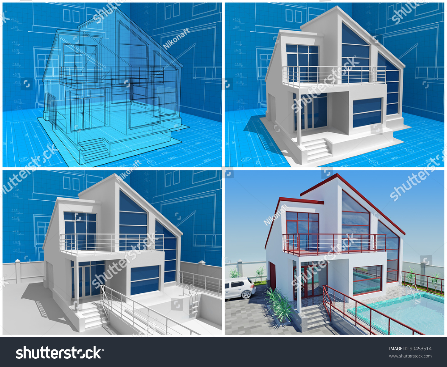 the cottage under construction  3d isometric view of