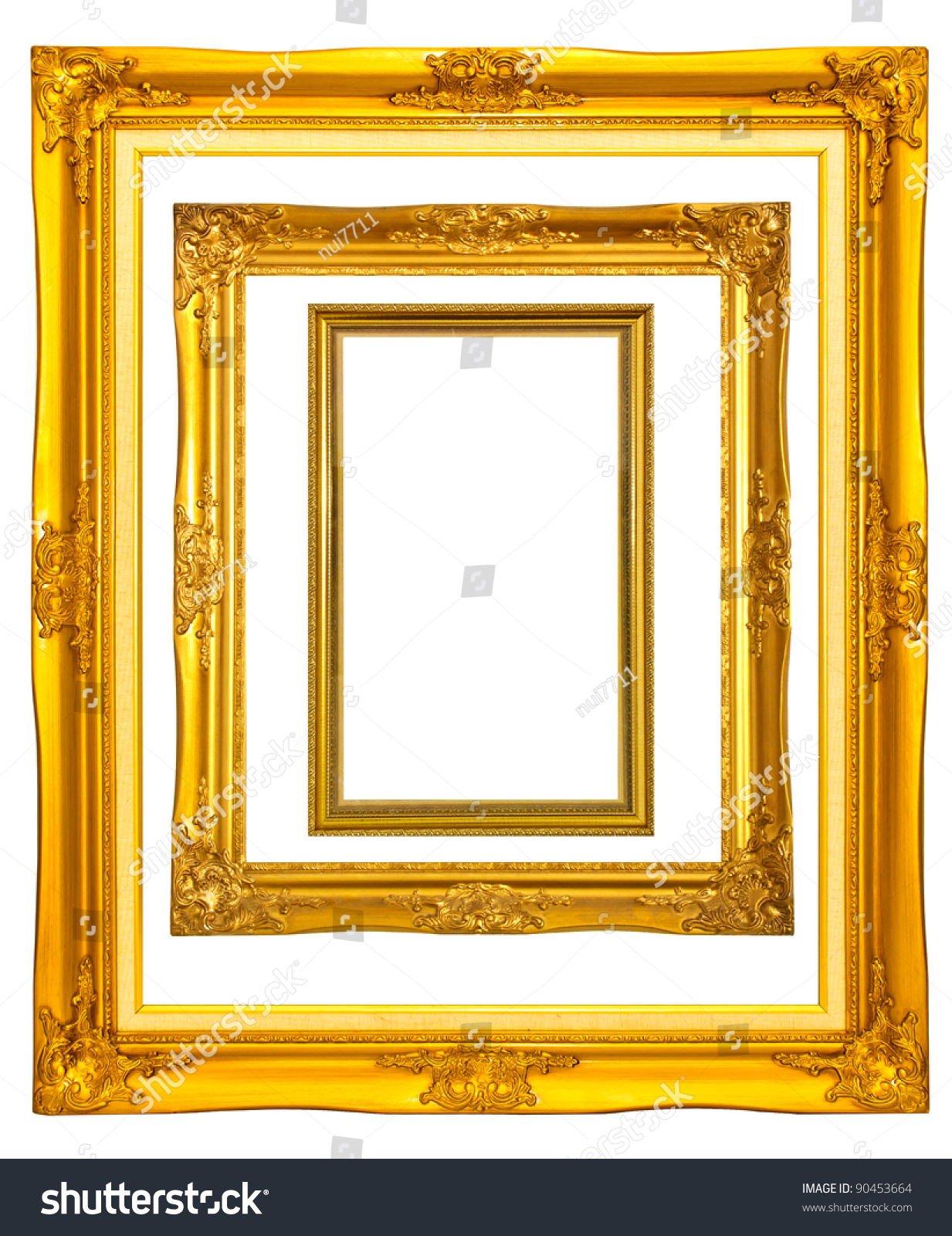 Set Gold Color Wooden Photo Frames Stock Photo (Royalty Free ...