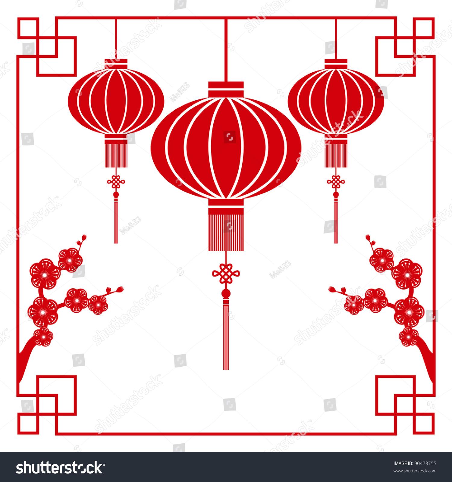 chinese paper cutting motif chinese lantern stock vector