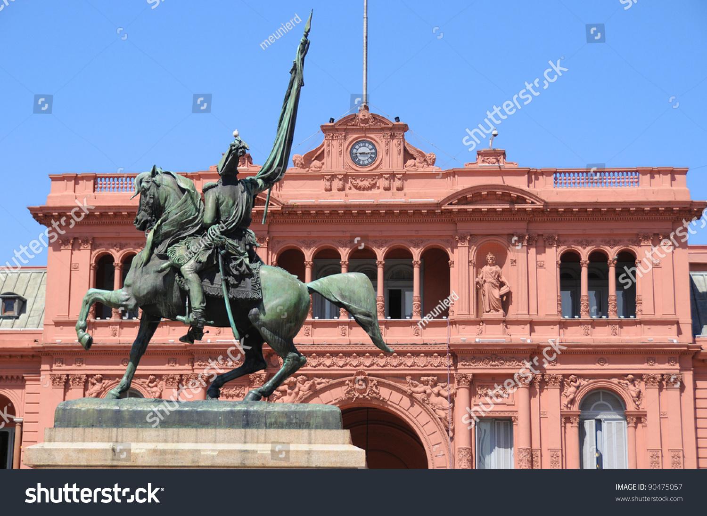 General belgrano monument front casa rosada stock photo for Casa argentina